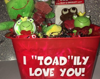 "I ""toad""ily love you! Frog Gift Basket"