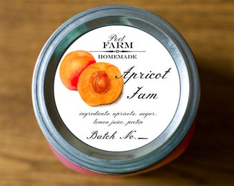 Customized Label - Apricot Jelly, Jam, Preserves, Nectar Canning Jar Label - Wide Mouth & Regular Mouth - All Text is Customizable