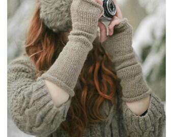 Long Arm Warmers | Wool Arm Warmers | Fingerless Gloves | Alpaca Wool Gloves | Fingerless Arm Warmers | Fingerless Woolen Mittens