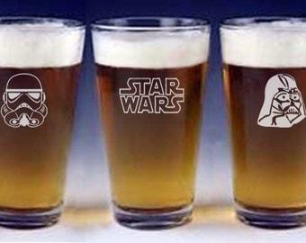 Star Wars Pint Beer Glasses Groomsman Wedding Gift Engraved FREE Starwars