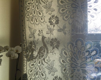 """Stunning vintage ART DECO blue cotton lace panel brise-bise cafe curtain new old stock sample 36"""" x 34""""l"""