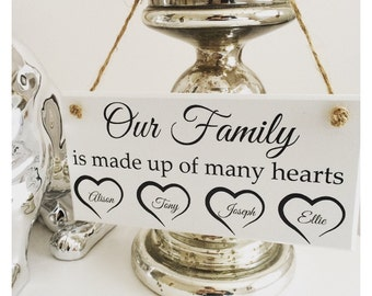 Personalised Our Family Is Made Up Of Many Hearts Plaque Sign