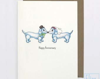 Dachshund Wedding - Anniversary // Illustrated Greeting Card