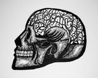 "Skull (""no title"") Woodcut Print"