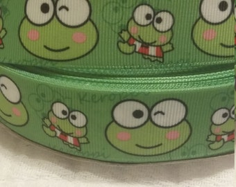 "3 yards, 1"" grosgrain ribbon frog design"