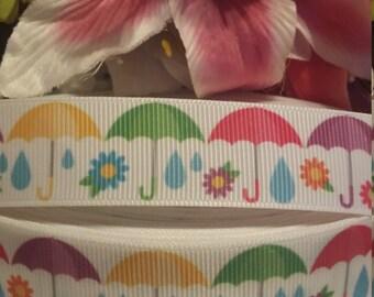 3 yards, 7/8' grosgrain ribbon colorful umbrella design.