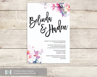 Romantic Multi Watercolour Wedding Invitation PDF (Single)