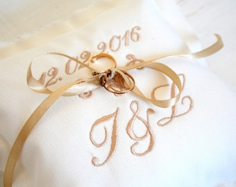 Personalized Ring Bearer Pillow - Vintage Dreams Embroidered Ring Pillow
