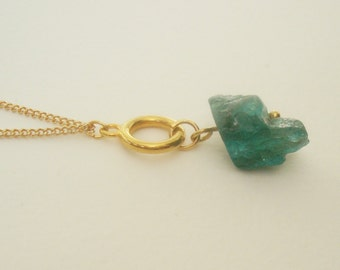 teal apatite crystal nugget duo gold chain necklace / wear it two ways / short or long