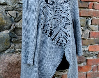 Knit Cardigan, Crochet Cardigan Sweater,Gray Cardigan, Long Cardigan, Oversized Cardigan, Womens Cardigan, Merino wool Cardigan / - for Her.