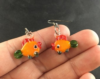 Glass Lampwork Fish Earrings With Hooks