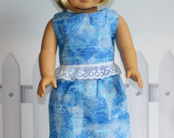 American Girl Doll Paris Print Top and Skirt/18-inch Doll Clothes