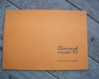 Vintage Garrard Model 70 Turntable Record Player Instruction Manual
