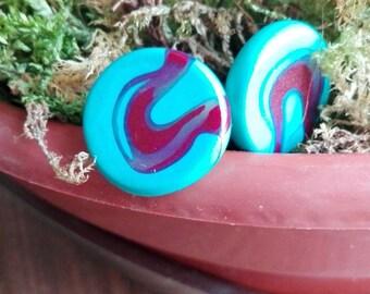 Big Blue Waves - plastic earrings
