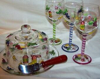 Vintage Wine and Cheese Set
