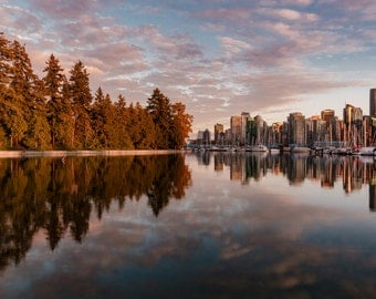 Vancouver Stanley Park and City Sunset Skyline Photography Print in British Columbia