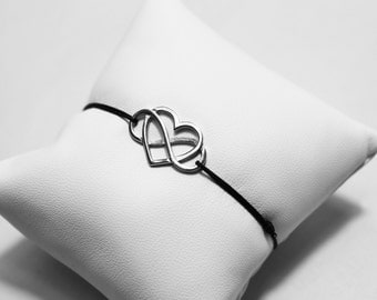 Bracelet heart infinity in Silver 925 rodhie on cord Jade wire