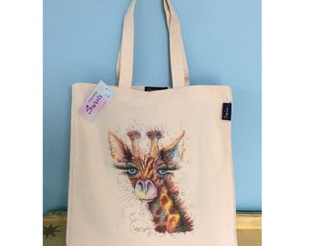 Large Tote Bag ' Giraffe Junior ' Print By Sophie Appleton Watercolour Artist , Shopping Bag , Beach Bag