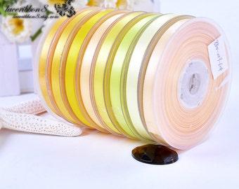 """100 Yards - 3/8"""" 9mm Yellow Orange Satin Ribbons, Double Faced, Wholesale Satin Ribbon, Crafts DIY Hair Bows Ribbon"""