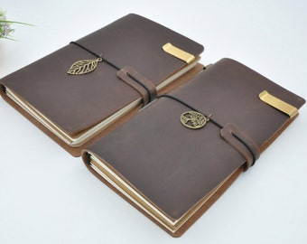 Brown Leather Midori Style Traveler's Notebook, Refillable Leather Notebook Journal - PJ003
