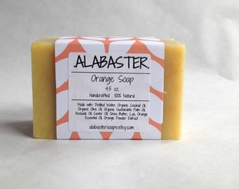 Orange Soap, Cold Process Bar of Orange Soap, Soap for Him, Soap for Her