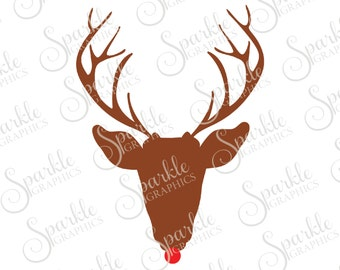Rudolph SVG Christmas SVG Deer Red Nose Reindeer Santa Christmas Xmas Clipart Svg Dxf Eps Png Silhouette Cricut Cut File Commercial Use SVG