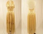 1930's Peignoir Set/Silk Nightgown with Robe/Vintage Set