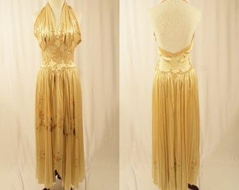 1930's Peignoir Set/Silk Nightgown with Robe/Vintage Set/