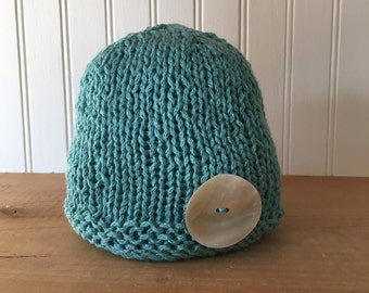 Beachcombers Button Hat in Aqua - hand knit baby hat newborn photo prop - Ready to Ship