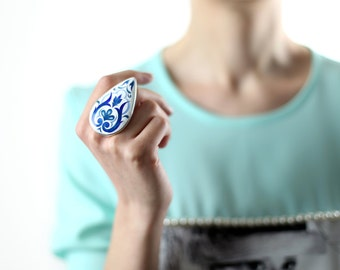 Topkapi Ring with Cloisonné  Enamel in Silver / Wearable Art / Inspired by Asian Ornaments / Statement Ring / Handmade