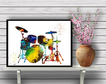 Drum Set Poster,Colorful Instrument, watercolor print, Drums, Music watercolor illustration,gift,  Instant Download