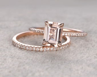 Payment plan for special customer:2pc 6x8mm Emerald Cut Morganite Engagement ring set,Diamond wedding band,size 4.25,14k rose gold.