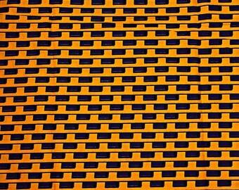 Yellow Purple Black Lined Blocks Wax Prints African Ankara Fabric Per Yard