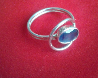 Adjustable Sapphire silver ring