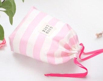 Drawstring Bag Storage Bag Traveling bag Gift bag Toy bag Pink Striped Organization Toy Storage