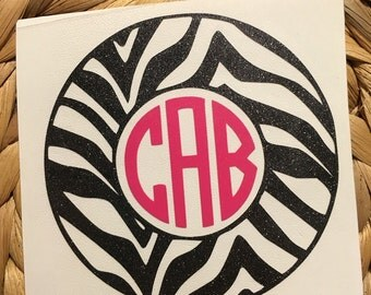 Zebra Print Monogrammed Vinyl Decal
