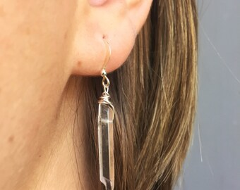 Mini Quartz Crystal Earrings With Silver Plated Shepard's Hook