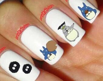 Japanese nail art etsy 60 totoro anime japan set2 waterslide or peel apply nail art decal image prinsesfo Choice Image
