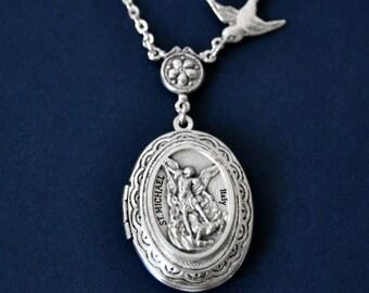 St Michael Necklace, St Michael Locket, Silver Locket, Religious Locket Necklace, Saint Medal Necklace, Bird Necklace