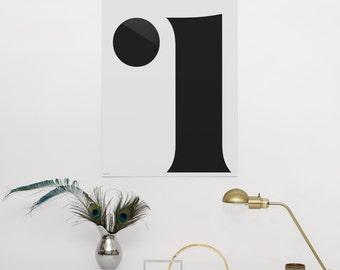 Minimalistic Monogram Type Print Poster - Letter i - Premium paper