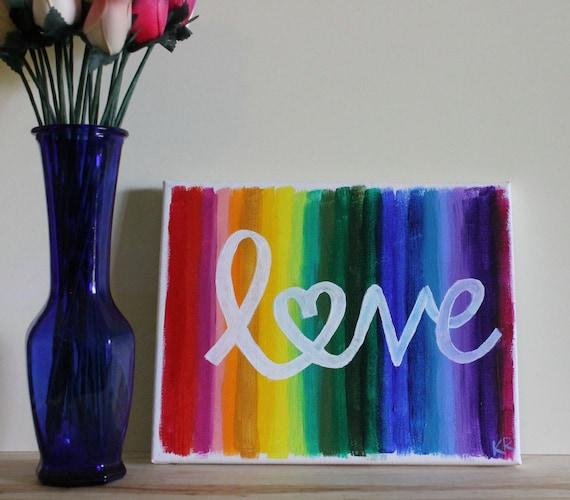 Rainbow Art Rainbow Painting Love Is Love Pride Art LGBT