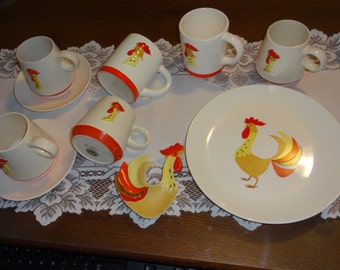 Vintage Holt Howard Rooster Dinnerware (plate, cups, etc.) Coq Rouge collection 1960's
