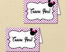 black and hot pink Minnie Mouse Thank you Card, Minnie Party, Minnie Baby Shower Thank You, Digital, Printable, Black and Pink Minnie Mouse
