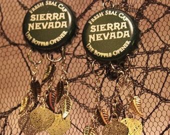 Leaf bottle cap drop earrings
