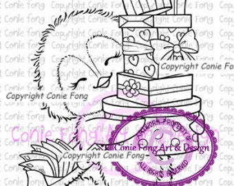 Digital Stamp, Digi Stamp, Snowy Delivery Presents by Conie Fong, Penguin, valentines, birthday, Christmas, coloring page, love, celebration