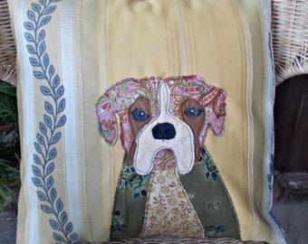 Handmade boxer dog applique cushion cover