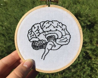 Anatomical Brain Embroidery Hoop Art - 10cm Hand Embroidered Brain - Anatomy Decor - Medical Gift - Science Gift
