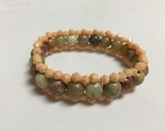 Earth-tone Beaded Bracelet: Cuff Style