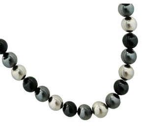 Necklace beads of gradient Pearl silver tones