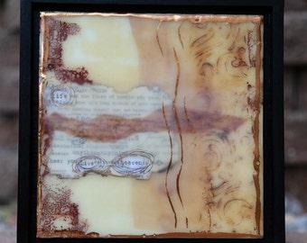 "Life Giving Words - Life, Live and Heaven - 9-1/2"" x 9""1/2"" Original, Framed Encaustic Art"